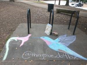 Street Chalk Art: Hummingbird