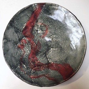 Red and Black Crackle Surface Plate