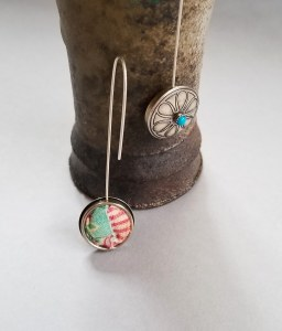 Quilted sterling silver with turquoise button earrings