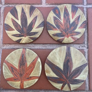 Weed coasters in the Grande Royale glaze combo