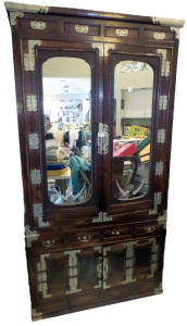 Korean Glass Front Amoire Chest in Beautiful Dark Wood with Carved Wood Motif and Bats and Cherry Blossom Metal Embellishments