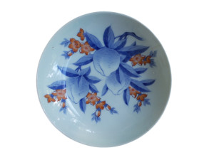Japanese Antique Nabashima Ware Fine Porcelain Bowl with Peaches in Blue and Red