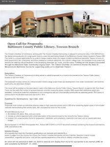 LARGE MURAL GRANT FOR TOWSON MARYLAND LIBRARY !OPEN CALL!