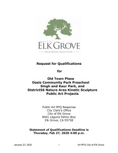 City of Elk Grove Public Art Call for Four Projects