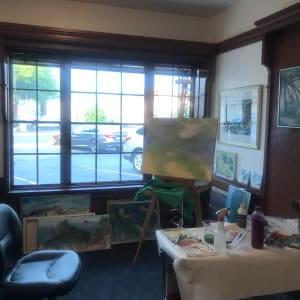 763- Depth at Heceta Bank by Katy Cauker  Image: View inside the gallery, Heceta Bank 1 on the easel.