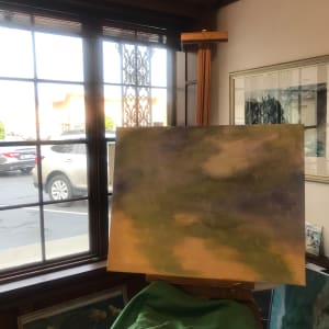 763- Depth at Heceta Bank by Katy Cauker  Image: Beginning the underpainting for a painting about the fecundity of the waters at Heceta Bank. First painting in the KC Studio Gallery.