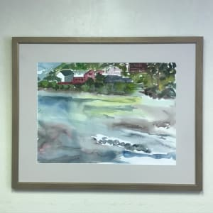 717- Tide In - The Red Building - Yachats Across the Estuary From the South side by Katy Cauker