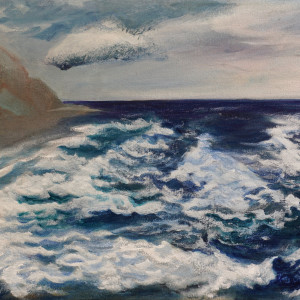 328 - The Surfer & The Overwhelming Power - Blue Wave II - Yachts by Katy Cauker