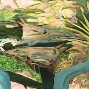 680-  Rogue Gallery - By the Pond/Garden Fish Sculpture & Heron Baldesarre Italio Gardens by Katy Cauker