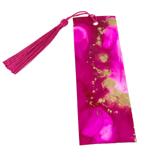Alcohol Ink Bookmark - Pink and Gold #2 by Susi Schuele