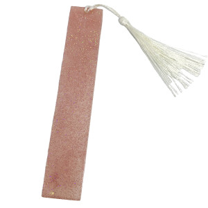 Resin Bookmark - Pink with White Tassel #2 by Susi Schuele