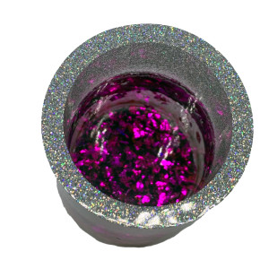 Resin Cylinder - Silver, Black, Purple Flake #1 by Susi Schuele