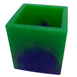 Resin Container - Square Swab/Brush/Pen Holder Blue Green #9 by Susi Schuele