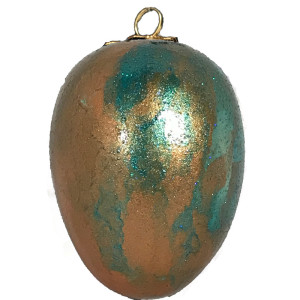 Teal Copper Metallic Stain Bisque Egg Ornament by Susi Schuele