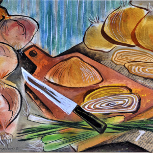 Still-Life with Onions by Norma Thompson