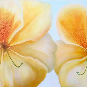 Together Again - Peach Freckles Rhodi by Mary Ahern
