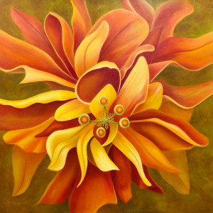 Pay Attention Here - Orange Hibiscus by Mary Ahern