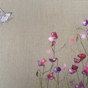 The butterfly and the sweetpeas