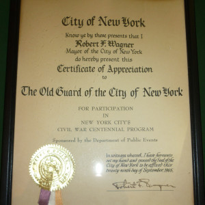 Mayor Robert Wagner Certificate of Appriciation