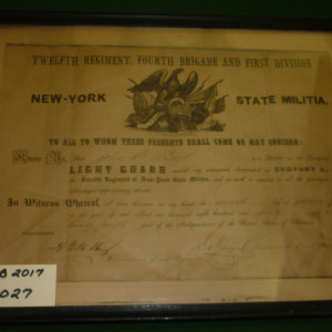 Private John A Burke Light Guard Enlistment Cetrtificate