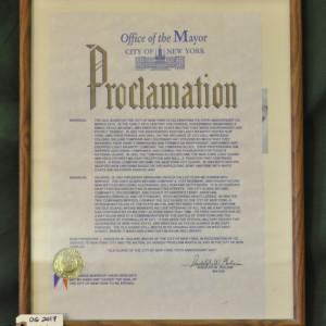Proclamation Made by Mayor Rudolph W. Giuliani