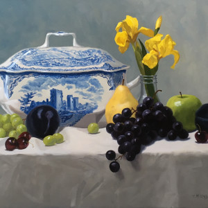 Tureen with iris and fruit aagd2z