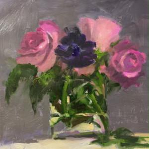Purple Anemone & Roses