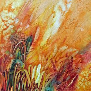 Prairie Fire:  Spring Renewal Study an original watercolor by Helen R Klebesadel