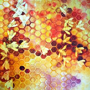 Where Art The Bees VII an original watercolor by Helen R Klebesadel
