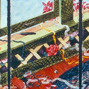 Attack of the Fancies an original watercolor triptch by Helen R Klebesadel