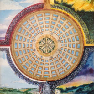 Capitol/Capital an original watercolor on canvas by Helen R Klebesadel