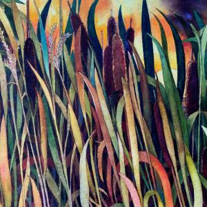 Fall Cattails an original watercolor by Helen R Klebesadel