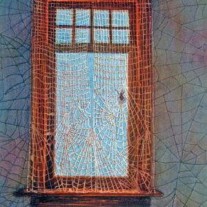 Arachne's Veil and original watercolor by Helen R Klebesadel