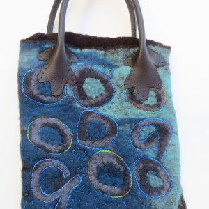 Blue and Brown Purse ~ wet felted