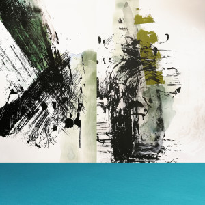 Composition #2 Triptych with Turquoise Stripe by shih yun yeo