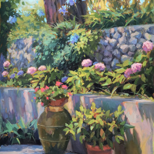 Flowers at villa cimbrone   oil on canvas   40 x 30 z19gxt