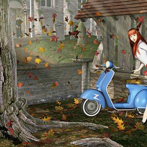 Melanie Rode Her Vespa to Vespers by Peter J Sucy Digital Arts
