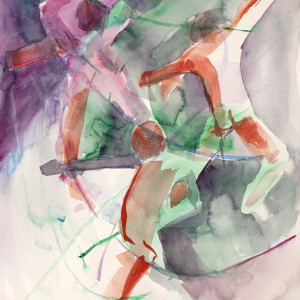 Lesley a. powell triple dance in circles. watercolor.4