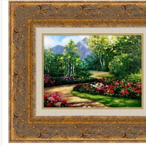 Garden Mountain Path Serigraph Hand Embellished Framed by Kevin D. Miles & Wendy Sue Schaefer Miles