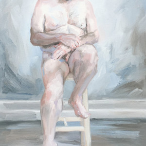 Seated nude, male study