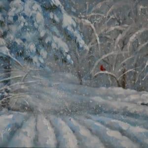 Cardinal on the Snowy Road Home by Linda Eades Blackburn