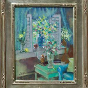 Flowers in the Reading Room by Linda Eades Blackburn