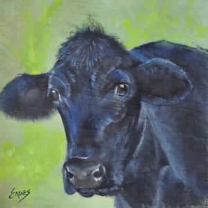 Black Cow on Cradled Panel by Linda Eades Blackburn