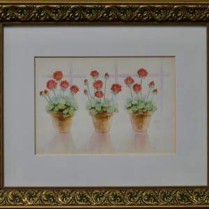 Three Potted Geraniums by Linda Eades Blackburn
