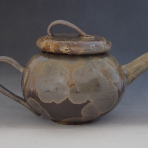 Dark Brown Teapot with 2 cups by Nichole Vikdal