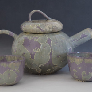 Purple Teapot with 2 cups by Nichole Vikdal