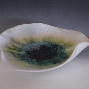 Green and White Sculpture Bowl