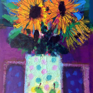 Sunflowers and polka dots by francis boag