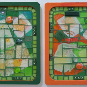 Green and Gold (pair of trivets) by Andrea L Edmundson