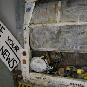 Make Your Own Fake News, garbage truck by Alan Powell